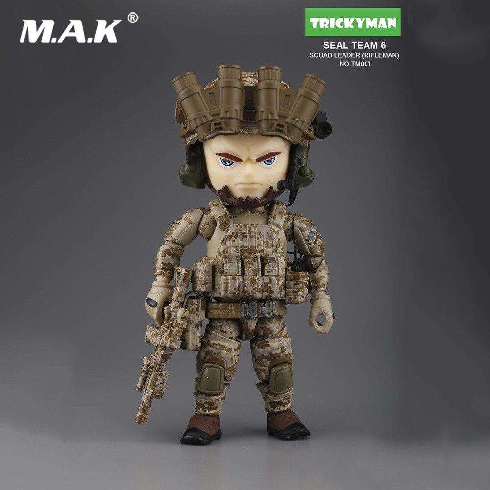 """Mini figura de ação 5 """"militar trickyman selo equipe 6 esquadrão líder rifleman tm001 modelo brinquedos para fãs coleção"""