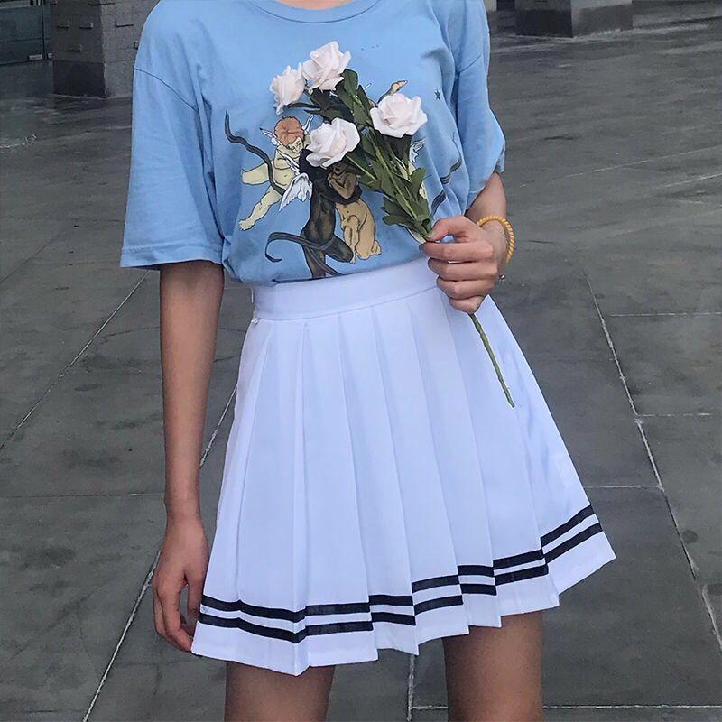 XS-5XL 2 Color New Summer Preppy Style Mini Women Skirt High Waist Striped Pleated Skirt Sailor Navy Cosplay Uniform Skirt