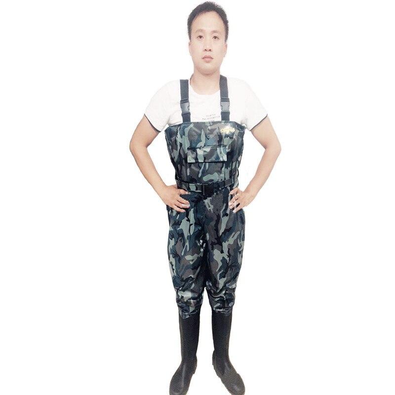 Náilon + Pvc Cinto + Bolso Alta-salto Camuflagem Pesca Waders Impermeável Tecido Respirável Cintura Design Caça Peixe Macacão 0.34mm