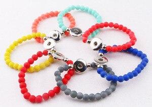 Fashion Women Adults Diy Snap Button Bracelets Fashion Handmade Rubber Beads Elastic 18mm snap button bracelet for kids girls