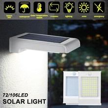 Paquete de 72/106 luces LED solares Para pared, lámpara de Exterior con Sensor de movimiento, a prueba de agua IP65, luces de seguridad, Luz Solar Led Para Exterior
