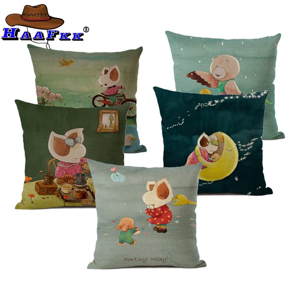 Tomada de cama dos desenhos animados capa de almofada animal fronha bonito pouco raposa impresso lance capa decorativa fronha