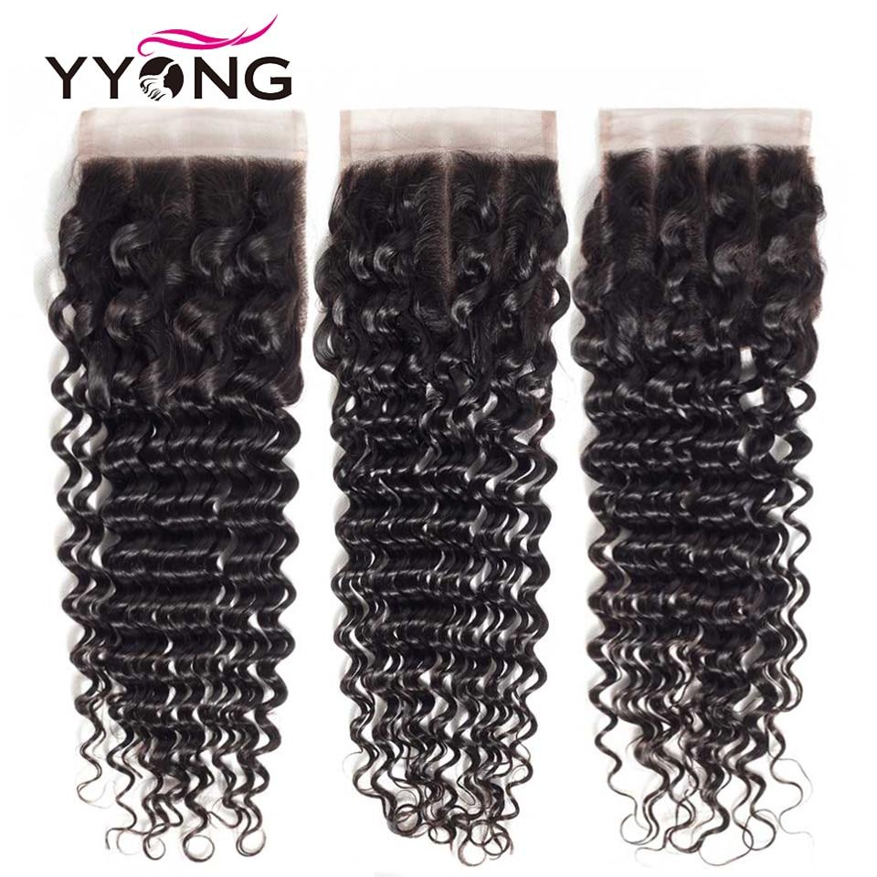 Yyong бразильская глубокая волна закрытия 4*4 швейцарские кружева бесплатно/Средняя/три части Remy человеческие волосы естественного цвета Бесп...