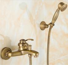 Robinet de douche de luxe en laiton   Robinet de salle de bains et de douche rétro de Style européen ensemble de douche de luxe avec douchette à main, grue de baignoire Antique ZR006