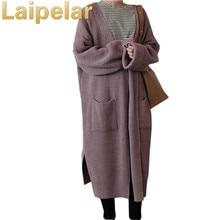 Laipelar Long Cardigan Women Autumn 2018 Fashion Long Knitted Sweater Female Oversized Tops Casual Black Coat Winter Clothing