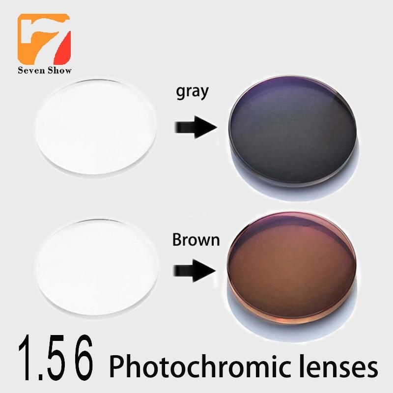 Gafas ópticas de prescripción fotocrómica 1,56 asférica miopía gris marrón cambio de Color rápido diámetro de rendimiento 70mm