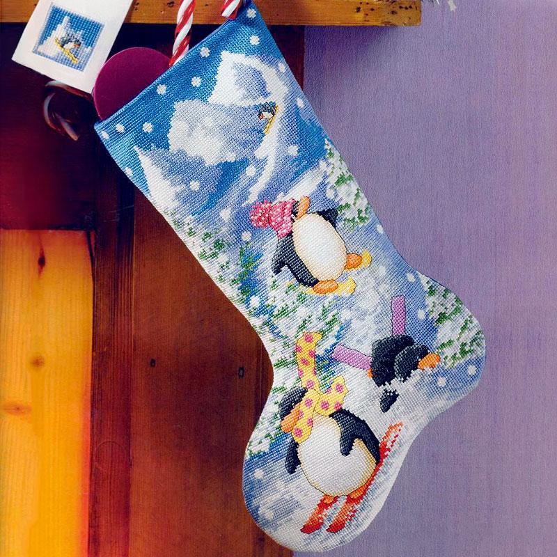 Botas de Navidad pingüino animales de dibujos animados DIY Kit de punto de cruz regalo bordado conjunto decoración del hogar arte de pared costura