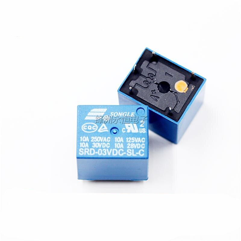10 unids/lote DC SONGLE relé de potencia 5PIN T73 SRD-3VDC-SL-C SRD-03VDC-SL-C Tipo PCB envío gratis