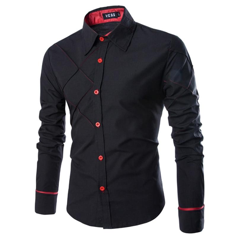 Новинка 2016, Мужские модельные рубашки, модная полосатая рубашка с длинным рукавом, мужская приталенная повседневная одежда, Camisa Social Masculina ...