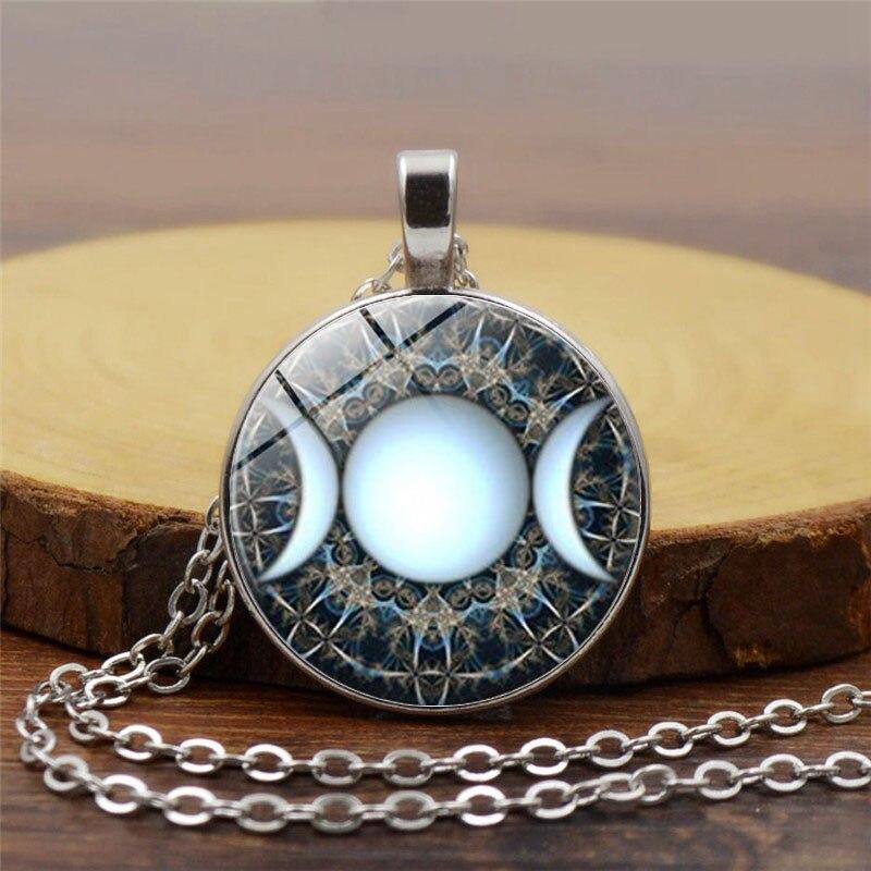 Triplo Da Deusa Da Lua Pingente Colar Pentagrama Wicca Bruxa Wiccan Jóias Cúpula de Vidro Colar de Prata Cadeia de Charme Jóias