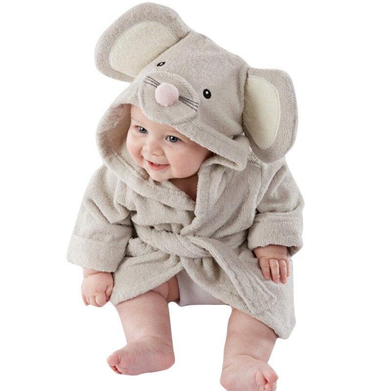 かわいい少年少女動物耳バスローブフード付きバスローブタオル幼児ベビー長袖パーカーベルト入浴ローブパジャマ 0-5Y