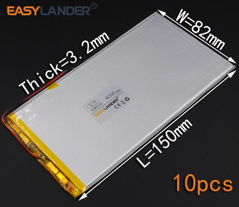 10 unids/lote 3,7 V 6000mAh batería recargable de polímero Li-ion para banco de energía tableta PC altavoz de la célula MID electronics 3282150