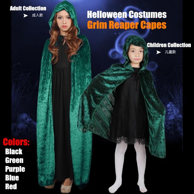 50 шт.! Коллекция для взрослых и детей, маскарадные костюмы на Хэллоуин, женская Ведьма, Grim Reaper, костюм вампира, черный отбеливатель, накидки, ш...