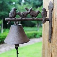 four birds cast iron hand cranking wall bell rustic retro wall mounted welcome door bell home garden decor birds on branch bell