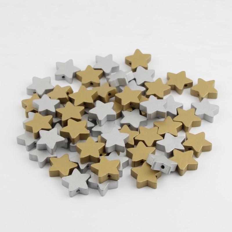 Cuentas de madera en forma de estrella plateada/oro 30 Uds cuentas espaciadoras sueltas para la fabricación de joyas Diy collar pulsera 15x15mm