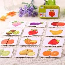 Bébé jouets Montessori en bois cognitif paire Puzzle carte jouet pour enfants apprentissage éducation véhicule/Fruit/Animal/vie ensemble Puzzle cadeau