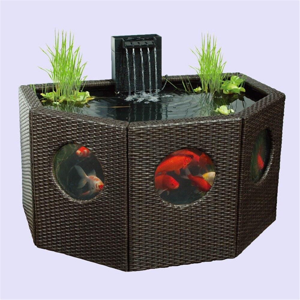 فناء بركة زنبق حوض المثمن/نصف القمر الروطان Wickerwork لوحة نافذة حديقة خاصية الماء Koi حوض للأسماك كبيرة الحجم أو الزراعة المائية