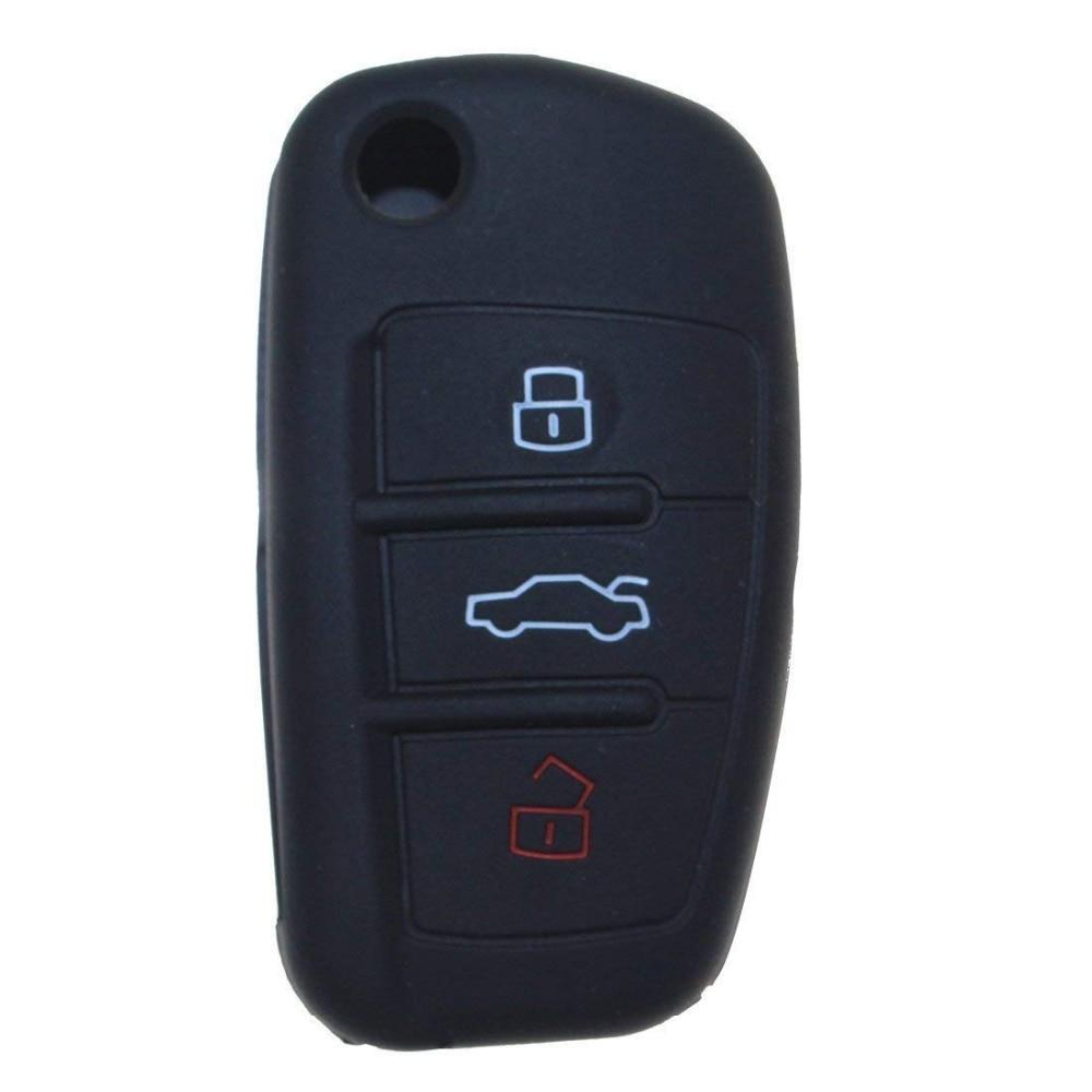 Cubierta de llave de coche piel funda de mando a distancia chaqueta para Audi A1 A4 A5 S1 S2 silicona 3 botones negro