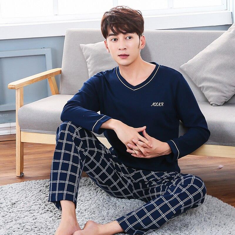 Pijamas 100% de algodón para hombre, Conjunto de pijama de manga larga con bolsillo para hombre de 20 estilos, ropa de dormir 95 Kg de 80Kg, tallas 3XL 4XL 5XL