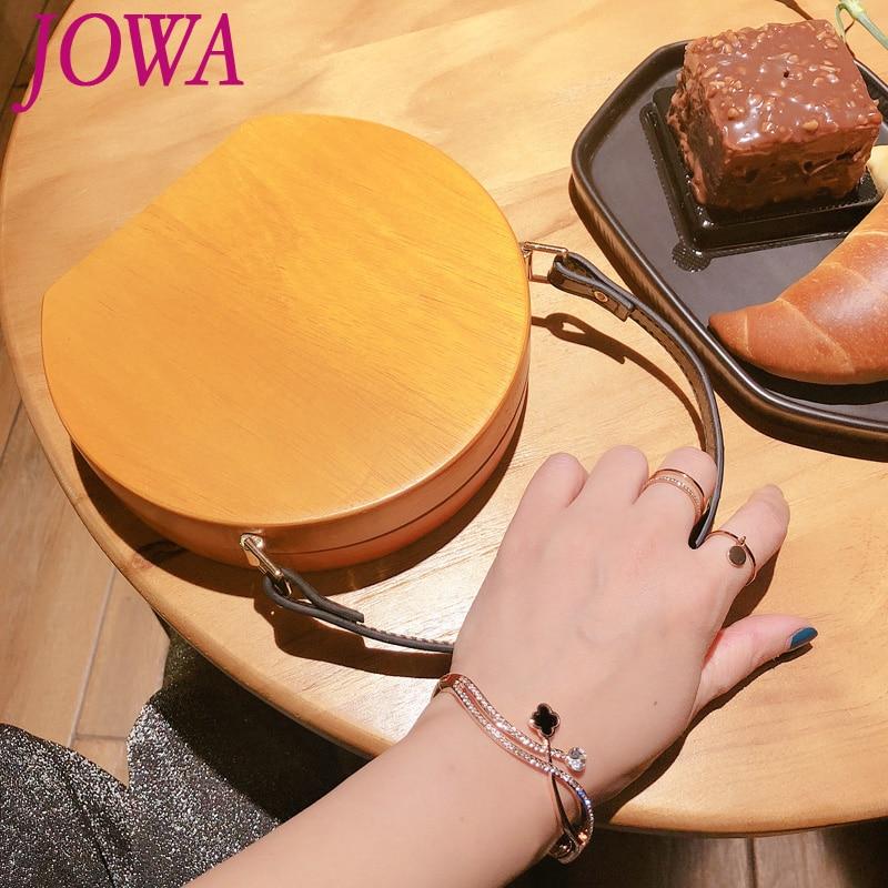 2019 New Design Women's Fashion Wooden Mini Bags Casual Circular Handbags Evening Party Clutches Night Purses Night Brown Purses