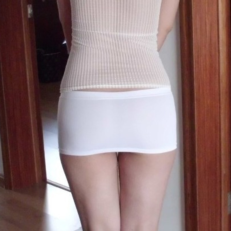 Hot Sexy Ice Silk Tight Pencil Cute Skirt Smooth Micro Mini Skirt Night Club Skirt Fantasy Erotic Wear Black White Plus Size F15