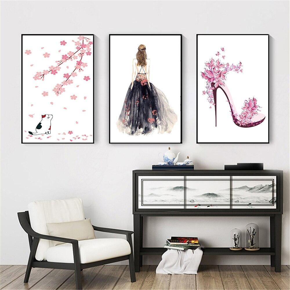 Arte Abstracto lindo Rosa Flores gato tacones altos zapatos chica carteles princesa lienzo pintura sala de estar decoración de la pared