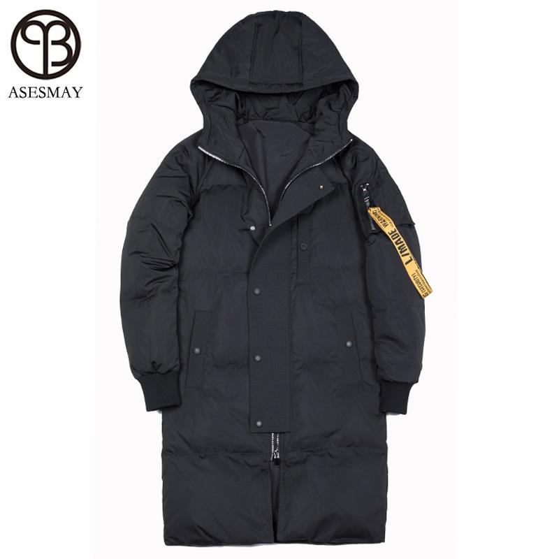 Asesmay marca roupas de luxo jaqueta de inverno com capuz para baixo homem grosso causal quente wellensteyn parkas longo branco outwear