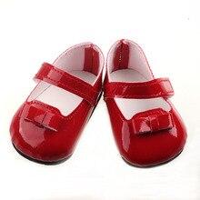 Puppe Schuhe Neue Rot Einfarbig Leder Shiny Schuhe Fit 43 CM Geboren Puppe Kinder Best Birthday Geschenk Spielzeug