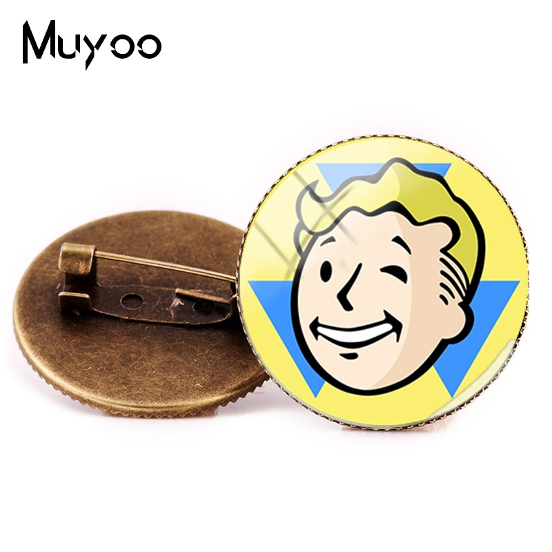 2018 nuevo estilo Fallout Shelter broche Pin foto del juego broches bronce redondo Pins cúpula de vidrio hecha a mano joyería hecha a mano