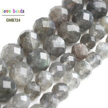 AAA Natural Labradorite Facetado Gem Pedra Redonda Beads para Fazer Jóias Pulseira Diy Colar 7.5 strand 6mm 8mm
