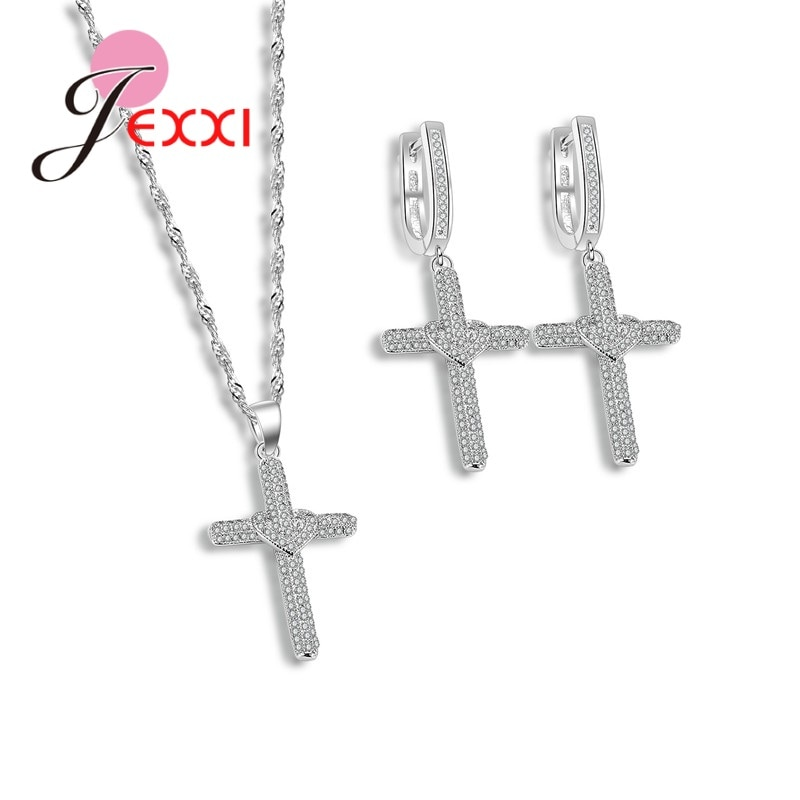 925 Sterling Silver Jewelry Set Luxury Cross Shape Jewelry Sets For Women Sliver Earrings/Pendant/Necklace Sets