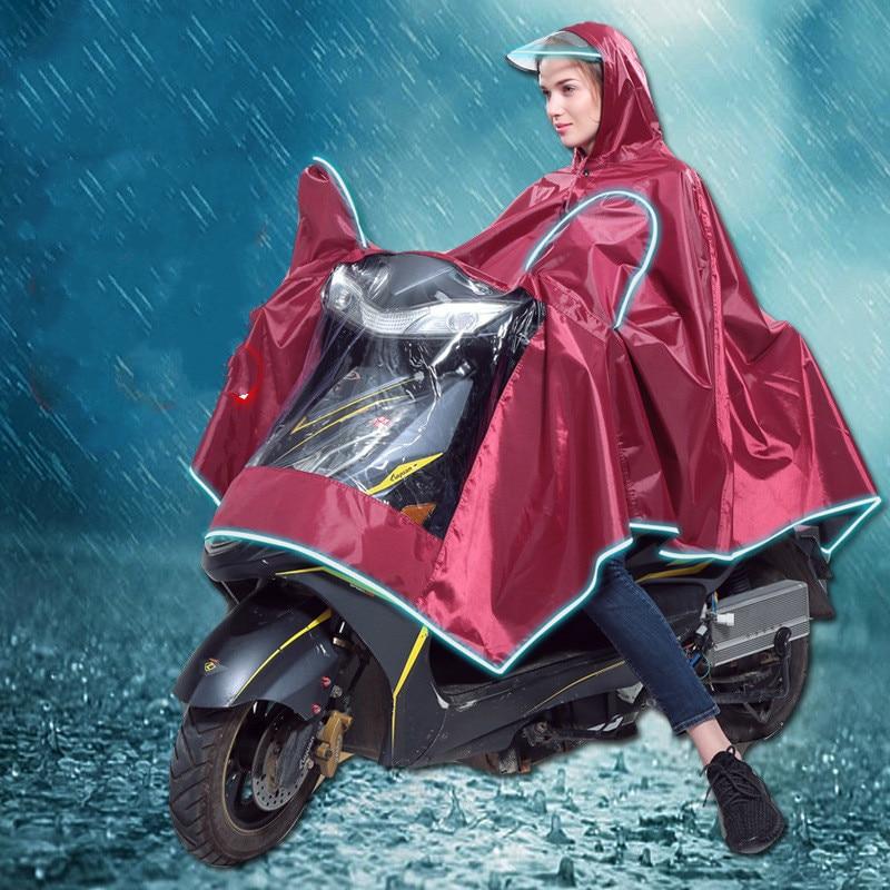 מעיל גשם למבוגרים חשמלי רכב אופנוע פונצ ו גבוהה ארכיונים פוליאסטר סיבי PVC בלילה לשים להאיר שולי כובע גשם