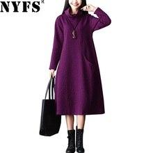 NYFS 2020 New Winter dress Vintage Cotton Loose Solid Thicken women long Dress Vestidos Robe Elbise