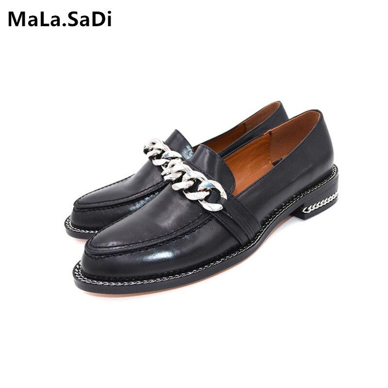Primavera nueva moda de alta calidad de cuero genuino zapatos casuales mujeres cadena de Metal decoración tacones planos punta redonda conciso mocasines zapatos