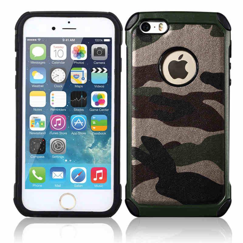 Iteuu 5S camuflagem do exército caso duro para iphone 5 5S se casos de silicone + pc anti-knock à prova de choque capa traseira escudo para iphone 5S