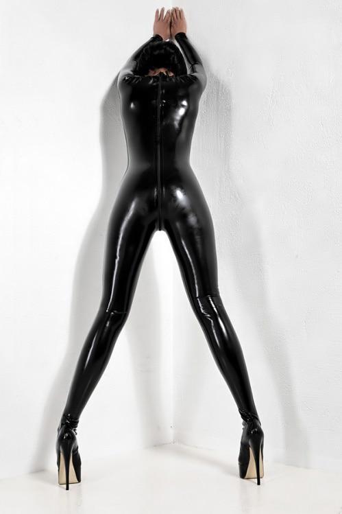جديد اللاتكس دعوى أسود وسيم ضيق Catsuit مع زيبر حجم XXS-XXL