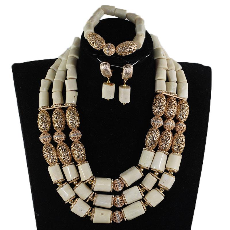 Real Original Coral blanco juego de joyas con cuentas dorado africano collar conjunto para mujeres bisutería NCL718