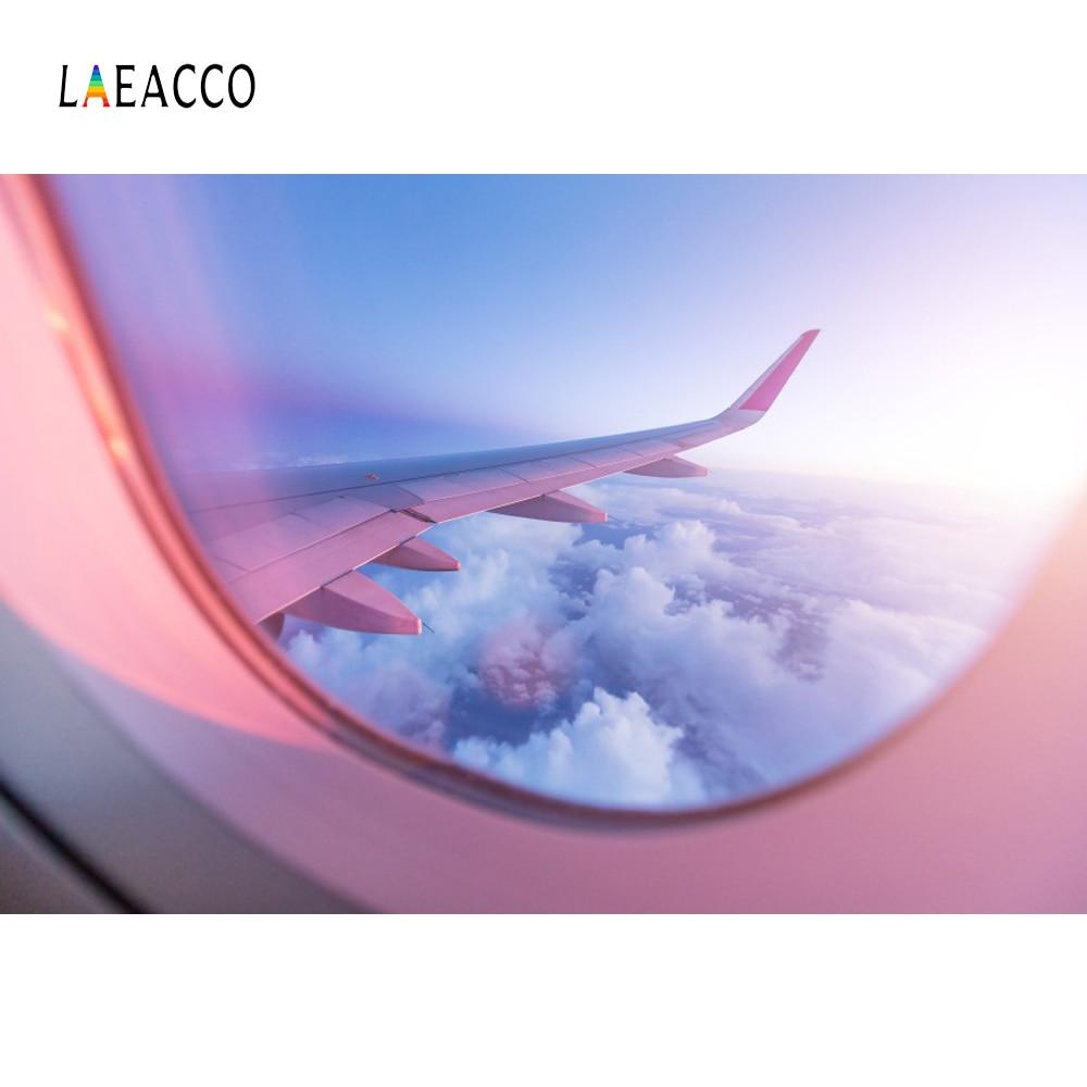 Laeacco avión azul nublado Ventana del cielo retrato de bebé Interior fondos fotográficos fotografía telón de fondo estudio fotográfico photocall