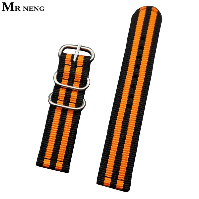 Бренд MR NENG, 18 мм, 20 мм, 22 мм, 24 мм, черно-оранжевые полосы, нейлоновый ремешок для часов, ремешок с пряжкой, кольцо из нержавеющей стали