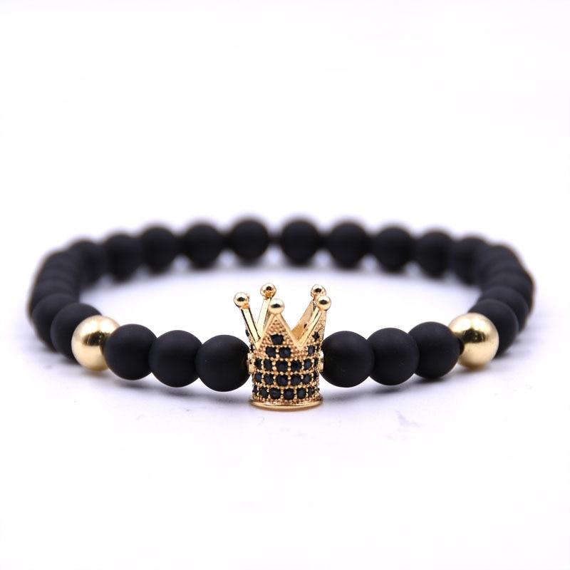 Natural stone bracelets High quality  Crown  Men's bracelets  Beads Bracelet For Women Men