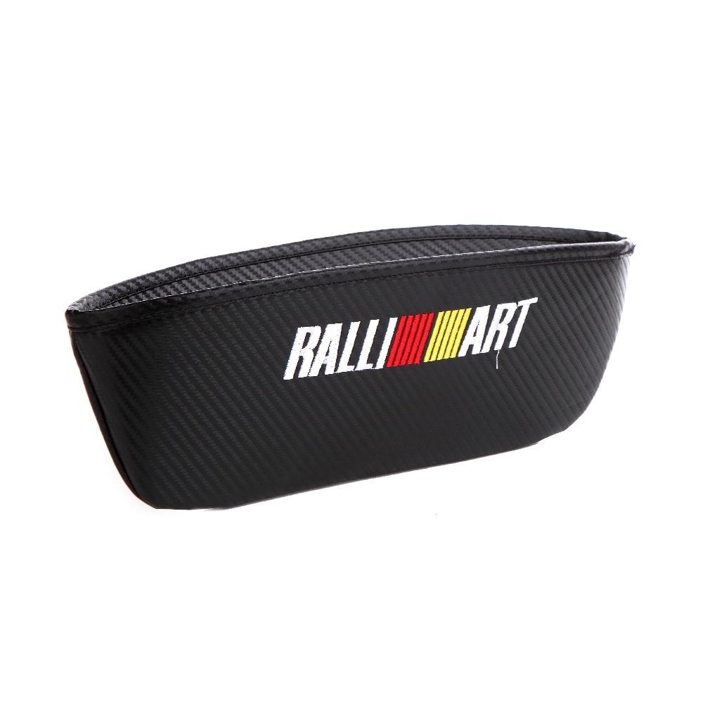 Bordado para el emblema de Ralliart, emblema para el coche, estilo de fibra de carbono, almacenamiento de hendidura, bolsa de asiento para Mitsubishi Lancer 10 evo Asx, accesorios