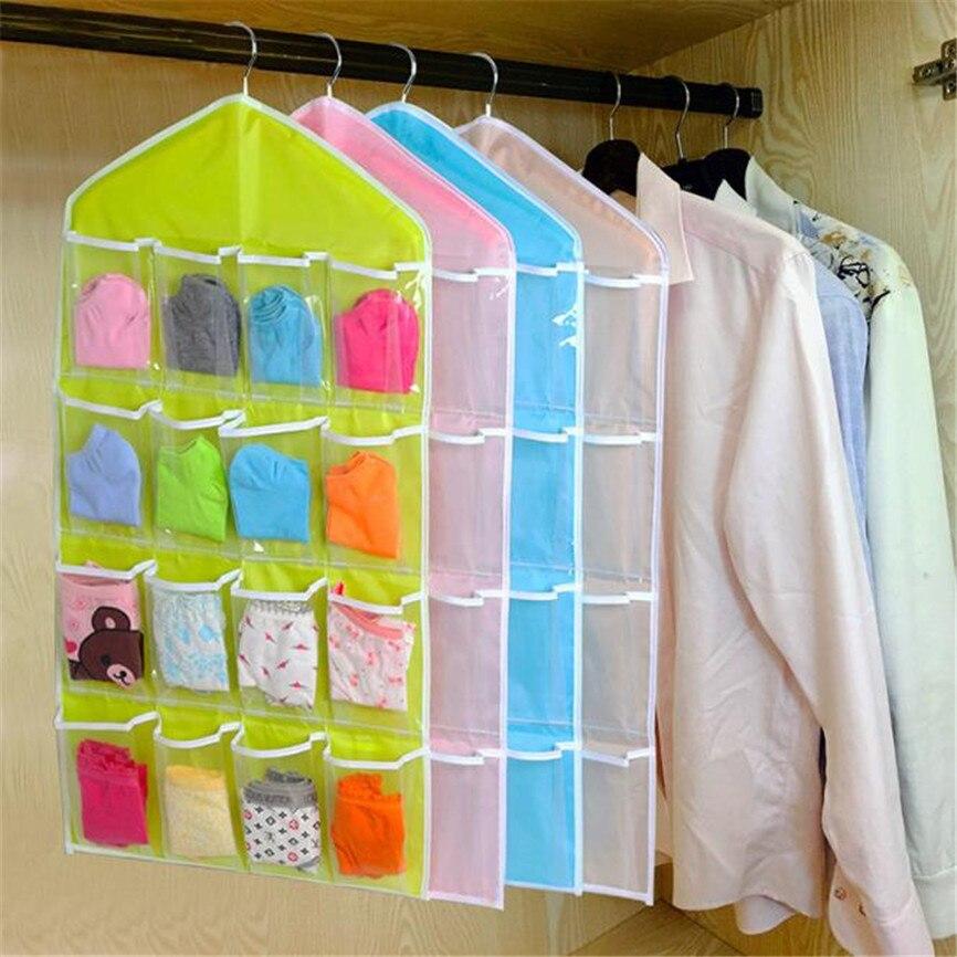 Colgador de ropa, 16 bolsillos, bolsa transparente colgante, calcetines, sujetador, ropa interior, colgador, colgador de puerta, colgador de pared, organizador de almacenamiento Oct #3