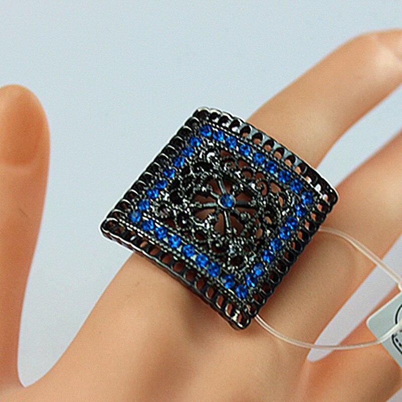 Ажурное кольцо ручной работы, черное квадратное кольцо Enchase с синими полудрагоценными камнями, новинка 2015, женская бижутерия, бесплатная до...