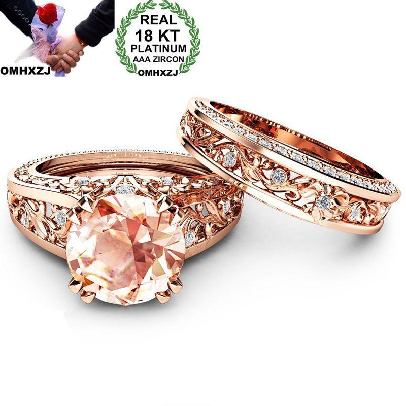 Omhxzj atacado europeu moda mulher homem festa de casamento presente luxo branco champanhe aaa zircão 18kt rosa ouro anel conjunto rr531