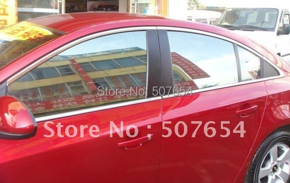 Higher star stainless steel 8pcs car WINDOW TRIM(4pcs upper trim+4pcs rear triangle trim) for CRUZE 2009-201