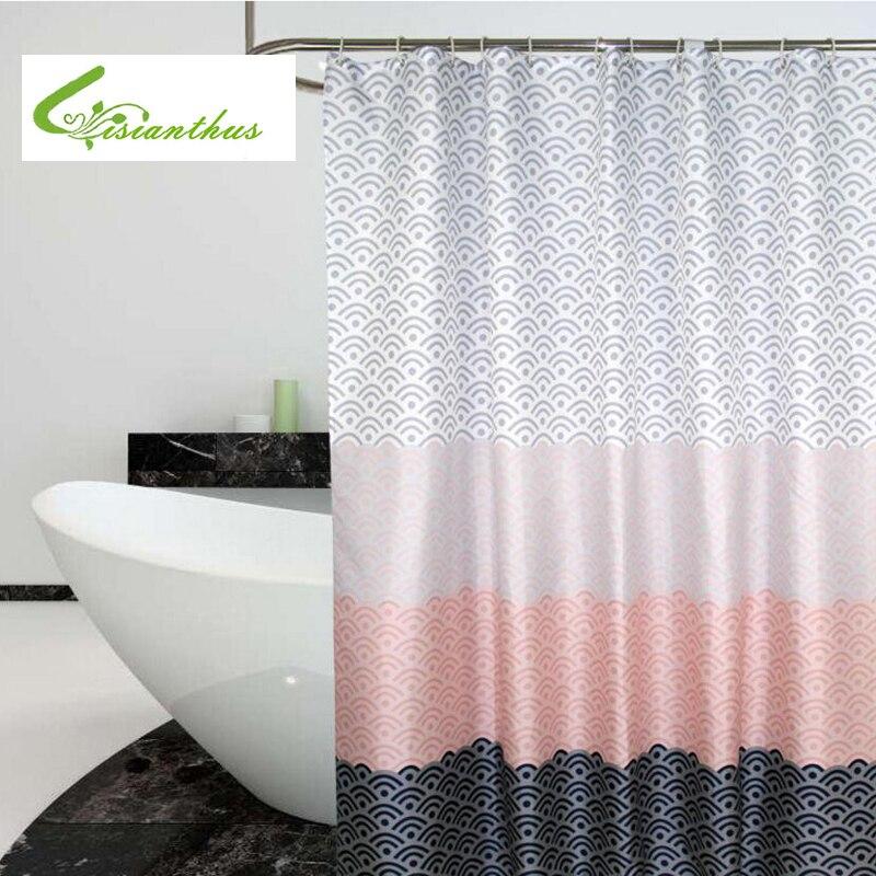 Современные Геометрические занавески для душа, водонепроницаемая занавеска для ванной из полиэстера для украшения ванной комнаты с пласти...