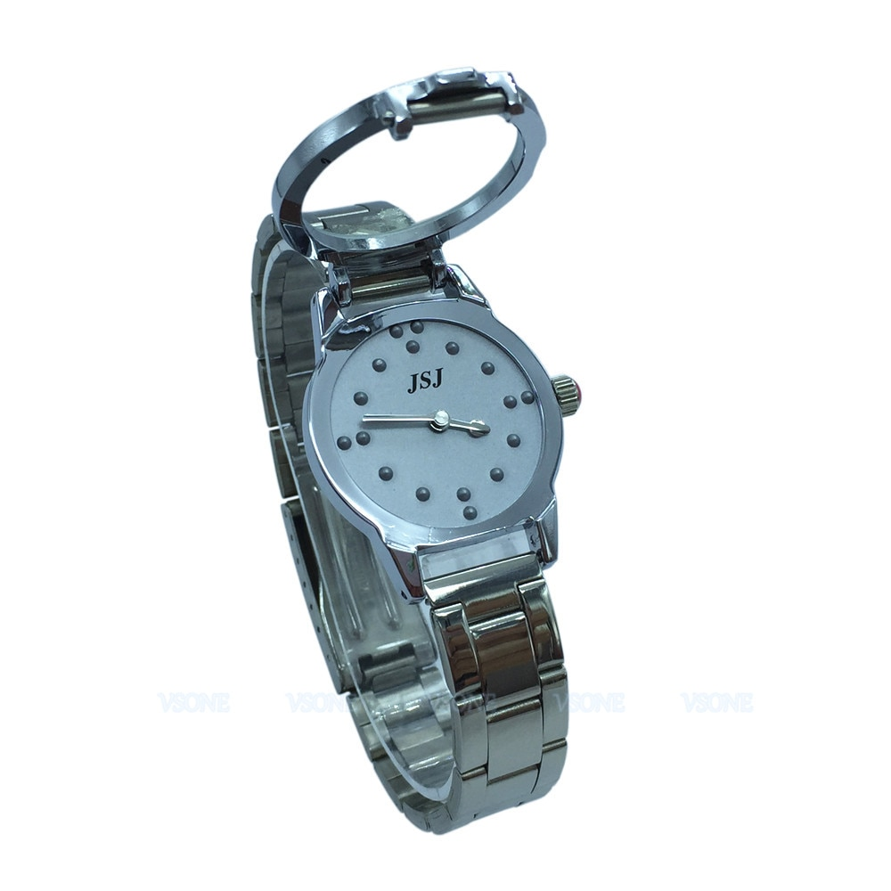 Relógio tático braille para pessoas cego ou idosos cinza, mostrador (para mulheres)
