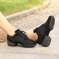 ushine t01 quality breathable mesh lace up dancing shoes lightweight fitness trainer modern jazz ballet dance sneakers woman