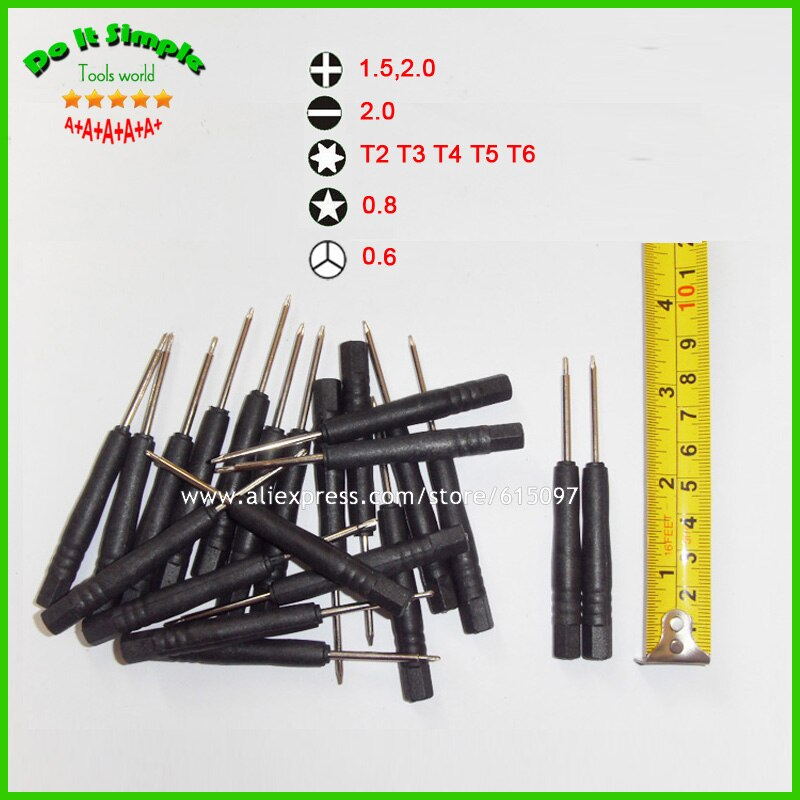 100 unids/lote Mini destornillador ranurada 2,0 Phillips 1,5 2,0 Torx T2 T3 T4 T5 T6 0,8 0.6Y destornillador para teléfono celular Tablet PC