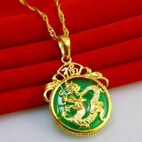 dragon pattern pendant chain yellow gold filled women men circle pendant necklace gift